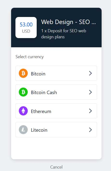 Order website design and SEO service and pay with bitcoin, bitcoin cash, Ethereum and Litecoin from Coinbase.com Commerce Payment Gateway  order website design and seo service with bitcoin bitcoin shop SEO webdesign